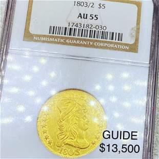 1803/2 $5 Gold Half Eagle NGC - AU55