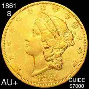 1861-S $20 Gold Double Eagle CHOICE AU