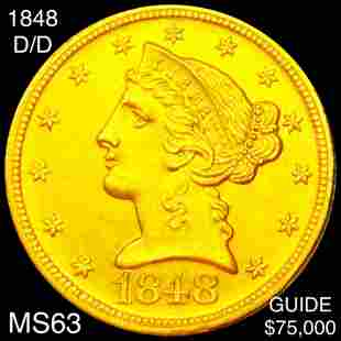 1848-D/D $5 Gold Half Eagle CHOICE BU