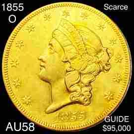 1855-O $20 Gold Double Eagle CHOICE AU