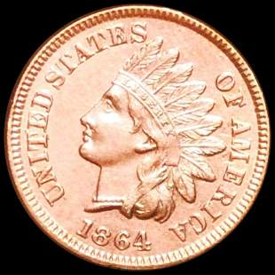 """1864 """"With L"""" Indian Head Penny UNCIRCULATED"""