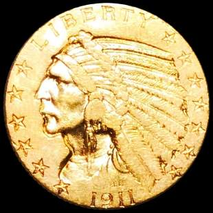 1911-S $5 Gold Half Eagle CLOSELY UNCIRCULATED
