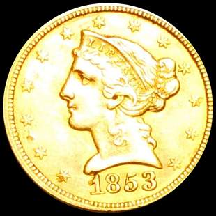 1853 $5 Gold Half Eagle UNCIRCULATED