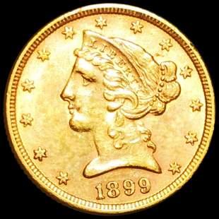 1899 $5 Gold Half Eagle UNCIRCULATED