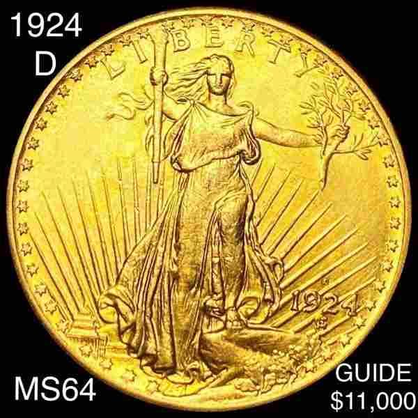 1924-D $20 Gold Double Eagle CHOICE BU