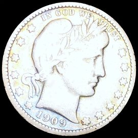 1909-O Barber Silver Quarter NICELY CIRCULATED