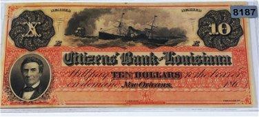 1860 $10 Citizens Bank Of Louisiana Bill UNC