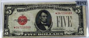 1928 $5 US Red Seal Star Note CLOSELY UNC