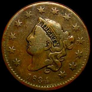 1834 Coronet Head Large Cent NICELY CIRCULATED