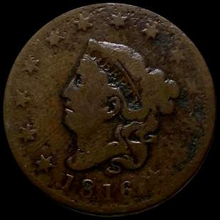 1816 Coronet Head Large Cent NICELY CIRCULATED