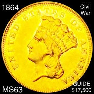 1864 Rare Gold Dollar CHOICE BU