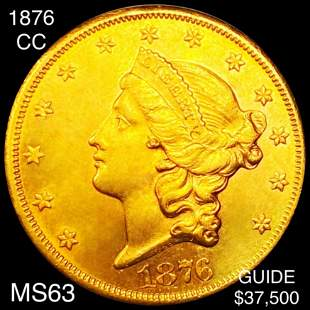 1876-CC $20 Gold Double Eagle CHOICE BU