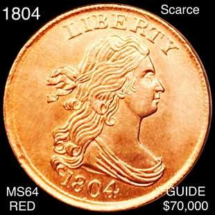 1804 Draped Bust Half Cent CHOICE BU RED