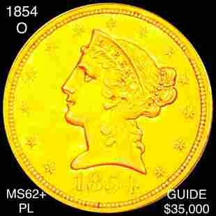 1854-O $5 Gold Half Eagle UNCIRCULATED PL