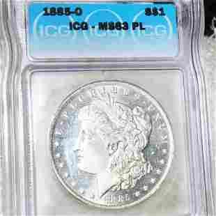 1885-O Morgan Silver Dollar ICG - MS 63 PL