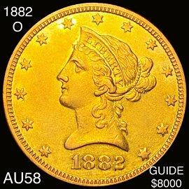 1882-O $10 Gold Eagle CHOICE AU