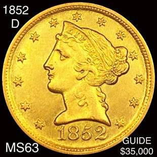 1852-D $5 Gold Half Eagle CHOICE BU