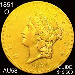 1851-O $20 Gold Double Eagle CHOICE AU