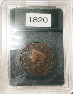 1820 Coronet Head Large Cent NICELY CIRCULATED