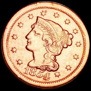 1854 Braided Hair Large Cent XF