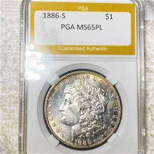 1886-S Morgan Silver Dollar PGA - MS 65 PL