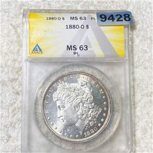 1880-O Morgan Silver Dollar ANACS - MS 63 PL