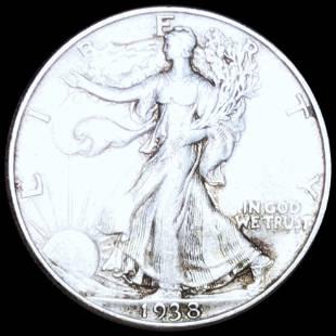 1938-D Walking Half Dollar LIGHTLY CIRCULATED