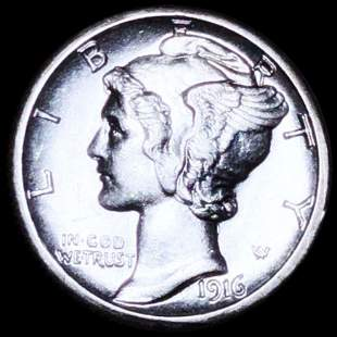 1916-S Mercury Silver Dime UNCIRCULATED