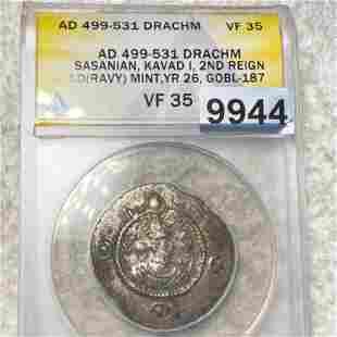 AD 499-531 Roman Empire Silver Drachm ANACS-VF35