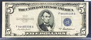 1953 US $5 Blue Seal Bill CLOSELY UNC