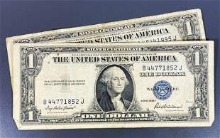 (2) 1935 US $1 Blue Seal Bill XF