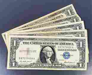 (5) 1957 US $1 Blue Seal Bill LIGHTLY CIRCULATED