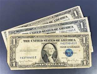 (3) 1935 US $1 Blue Seal Bill NICELY CIRCULATED