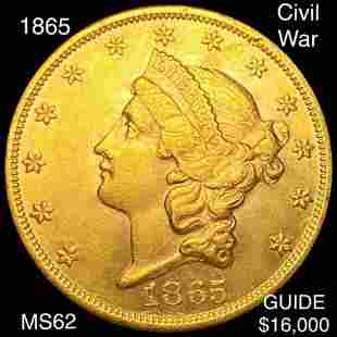 1865 $20 Gold Double Eagle UNCIRCULATED