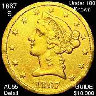 1867-S $5 Gold Half Eagle CHOICE AU DETAIL