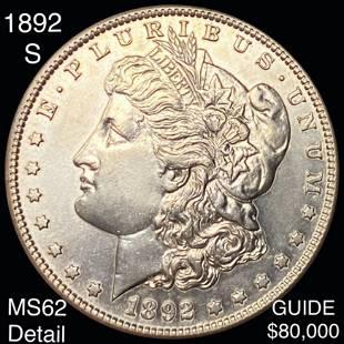 1892-S Morgan Silver Dollar UNCIRCULATED DETAIL