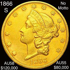 1866-S $20 Gold Double Eagle CHOICE AU NO MOTTO
