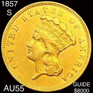 1857-S $3 Gold Piece CHOICE AU
