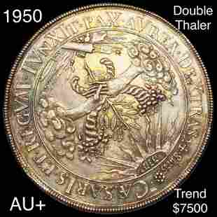 1950 Germany Silver Double Thaler AU+