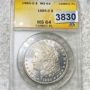 1885-O Morgan Silver Dollar ANACS - MS 64 CAMEO PL