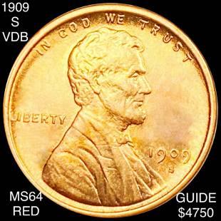1909-S V.D.B. Lincoln Wheat Penny CHOICE BU RED