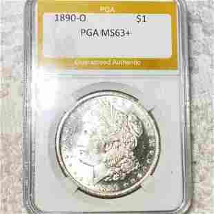 1890-O Morgan Silver Dollar PGA - MS63+