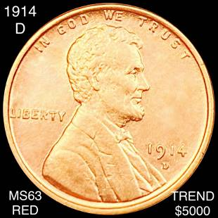 1914-D Lincoln Wheat Penny CHOICE BU RED