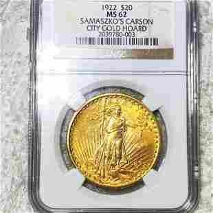 1922 $20 Gold Double Eagle NGC - MS62 SAMASZKO