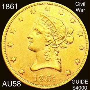 1861 $10 Gold Eagle CHOICE AU