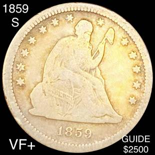 1859-S Seated Liberty Quarter NICELY CIRCULATED