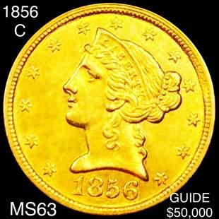 1856-C $5 Gold Half Eagle CHOICE BU