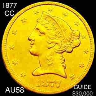 1877-CC $5 Gold Half Eagle CHOICE AU