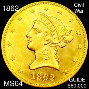 1862 $10 Gold Eagle CHOICE BU