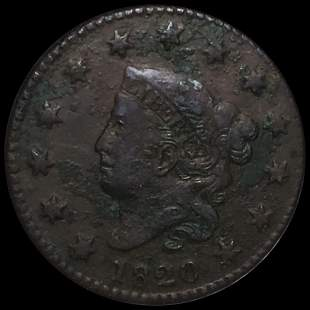 1820 Coronet Head Large Cent LIGHTLY CIRCULATED